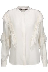 Roberto Cavalli Ruffled Silk Blouse Off White
