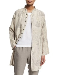 Eskandar Floral Print Button Down Linen Jacket Grays Greys