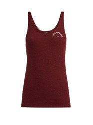 The Upside T Bar Ribbed Cotton Tank Top Burgundy