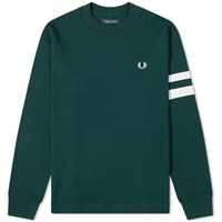 Fred Perry Authentic Engineered Stripe Crew Sweat Green