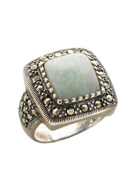 Lord And Taylor Sterling Silver And Marcasite Square Jade Ring