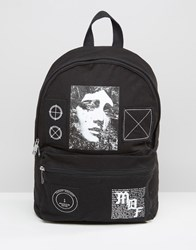 Asos Backpack With Patches Black