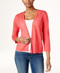 Charter Club Diamond Stitch Open Front Cardigan Only At Macy's Crushed Coral