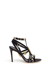 Fausto Puglisi Metal Stud Caged Leather Sandals Black
