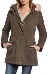 Guess Women's Parka With Removable Faux Fur Trim Hood Olive Pink Fur