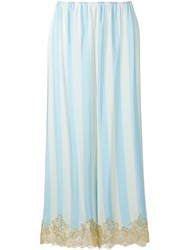 Rosamosario Lace Application Striped Trousers Blue