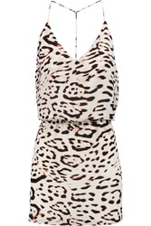 Vix Swimwear Kim Leopard Print Silk Crepe De Chine Mini Dress White