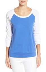 Women's Caslon Lightweight Colorblock Cotton Tee Blue White Colorblock