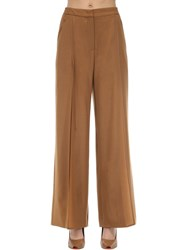 Agnona Wide Leg Wool And Cashmere Pants Brown