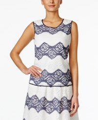 Nine West Floral Lace Striped Shell Navy Ivory