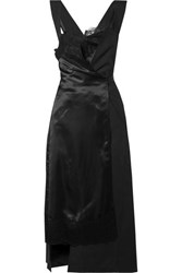 Junya Watanabe Lace Trimmed Paneled Satin And Twill Wrap Dress Black