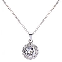 Ted Baker Sela Crystal Daisy Pendant Necklace Silver Clear