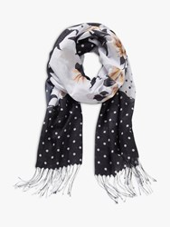 Betty And Co. Floral Dot Print Scarf Black White