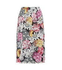 Burberry Cary Floral Printed Silk Skirt Multicoloured