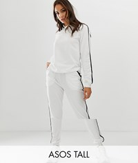 Asos Design Tall Tracksuit Cute Sweat Basic Jogger With Tie With Contrast Binding White