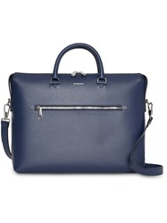 Burberry Large Textured Leather Briefcase Blue