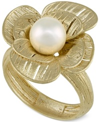 Macy's Cultured Freshwater Pearl Flower Ring In 18K Gold Over Sterling Silver 7Mm Black