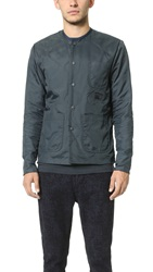 Patrik Ervell Collarless Quilted Flight Nylon Shirt Jacket Anthracite