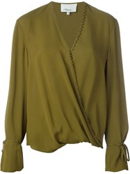 3.1 Phillip Lim Draped Wrap Blouse Green