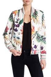 Bagatelle Perforated Tropical Printed Faux Leather Jacket Beige