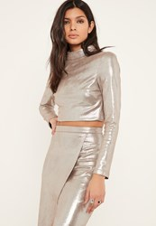 Missguided Silver Glitter Effect Faux Suede Open Back Crop Top