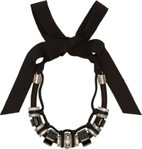 Lanvin Black Ribbon And Pewter Timeless Short Necklace