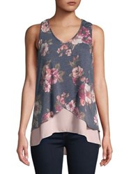Design Lab Lord And Taylor Floral Tank Top Charcoal White