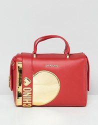 Love Moschino Gold Heart Handle Bag With Strap Red