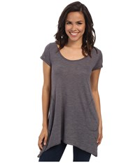 Allen Allen S S Slub Tunic Dark Grey Women's Blouse Gray