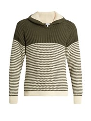 Loewe Shawl Collar Cotton Blend Sweater Green Multi