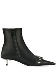 Balenciaga Shiny Leather Belted Booties Black