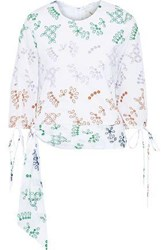 Novis Woman The Falmouth Knotted Broderie Anglaise Cotton Blend Blouse White