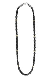Women's Lagos 'Black Caviar' Station Rope Necklace Black Caviar Gold