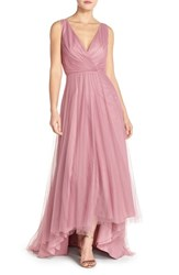 Women's Monique Lhuillier Bridesmaids Pleat Tulle V Neck High Low Gown Cerise
