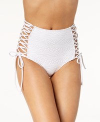 Hula Honey Little Wild One Lace Up Crochet High Waist Bikini Bottoms Created For Macy's Women's Swimsuit White