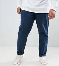D Struct Plus Elastic Waist Cropped Chino Trousers Navy