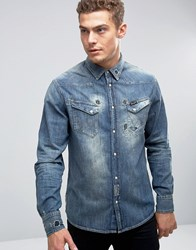 Wrangler Distressed Denim Shirt Mid Indigo Navy