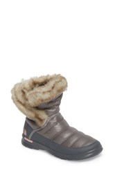 The North Face Women's Microbaffle Waterproof Thermoball Tm Insulated Winter Boot Shiny Frost