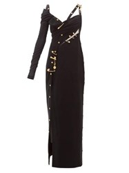 Versace One Sleeve Safety Pin Crepe Gown Black