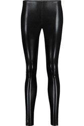 Norma Kamali Metallic Coated Stretch Tech Jersey Leggings Black