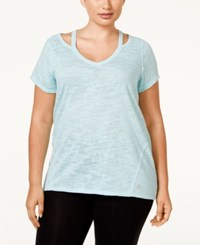 Calvin Klein Performance Plus Size V Neck T Shirt Jamaica Blue