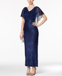 Jessica Howard Lace Capelet Gown Navy