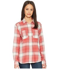 The North Face Long Sleeve Castleton Shirt Sunbaked Red Trailhead Plaid Long Sleeve Button Up