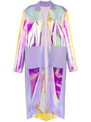 Natasha Zinko Iridescent Contrast Panel Oversized Trench Coat Purple