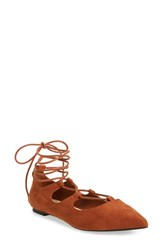 Callisto Women's 'Rian' Ghillie Lace Pointy Toe Flat Tan Faux Suede