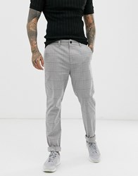 Hollister Skinny Taper Fit Check Chinos In Grey
