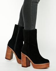 Asos Kiss And Tell Suede Boots Black