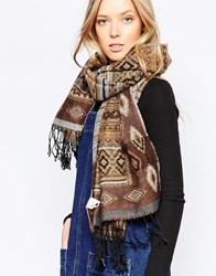 Yumi Patterned Wrap Oversized Scarf Brown