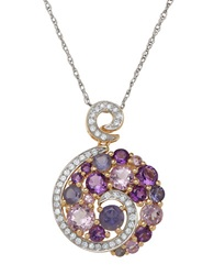 Lord And Taylor 14K Yellow Gold Diamond Amethyst And Pink Amethyst Pendant