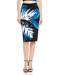Timo Weiland Leaf Patterned Pencil Skirt Teal Navy Black White